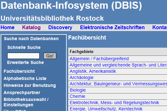 View Database Information System (DBIS)
