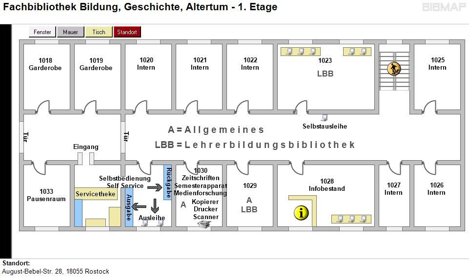Etagenplan Fachbibliothek Bildung, Geschichte, Altertum - 1.Etage