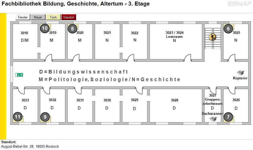 Etagenplan Fachbibliothek Bildung, Geschichte, Altertum - 3.Etage