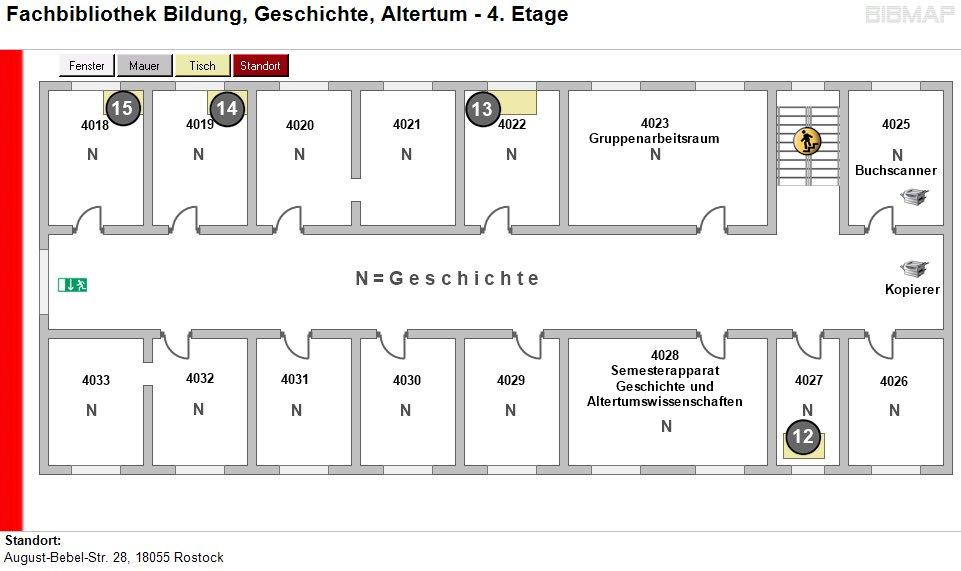 Etagenplan Fachbibliothek Bildung, Geschichte, Altertum - 4.Etage