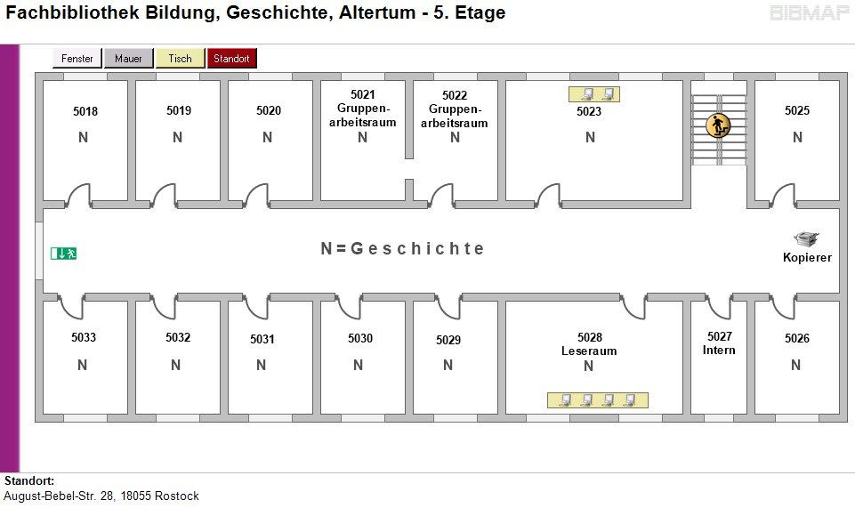 Etagenplan Fachbibliothek Bildung, Geschichte, Altertum - 5.Etage