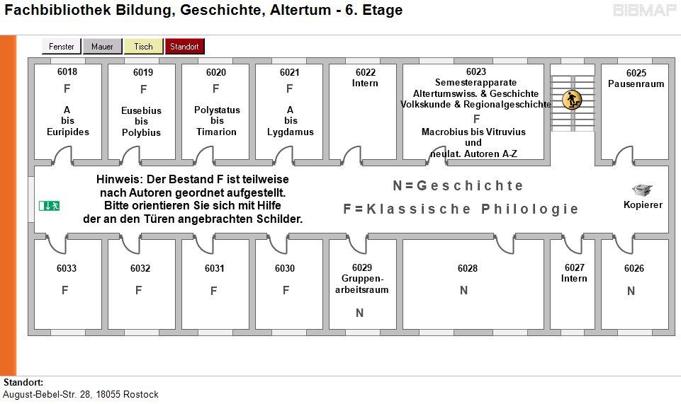 Etagenplan Fachbibliothek Bildung, Geschichte, Altertum - 6.Etage