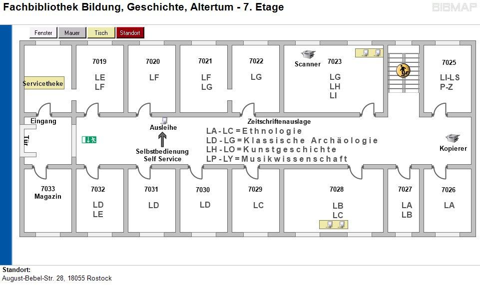 Etagenplan Fachbibliothek Bildung, Geschichte, Altertum - 7.Etage