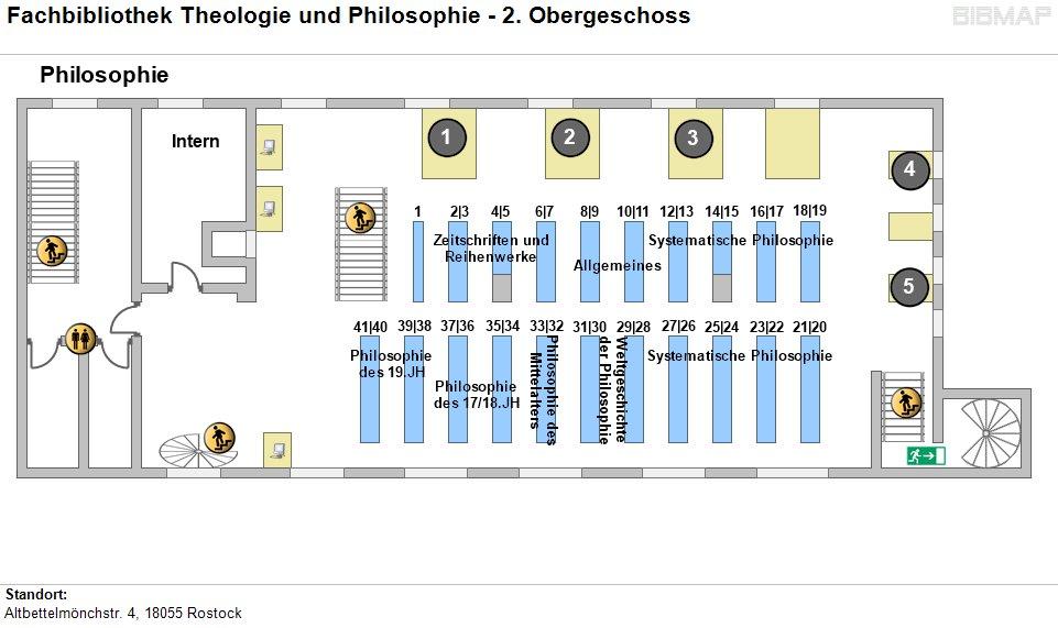Etagenplan Fachbibliothek Theologie und Philosophie - 2. OG