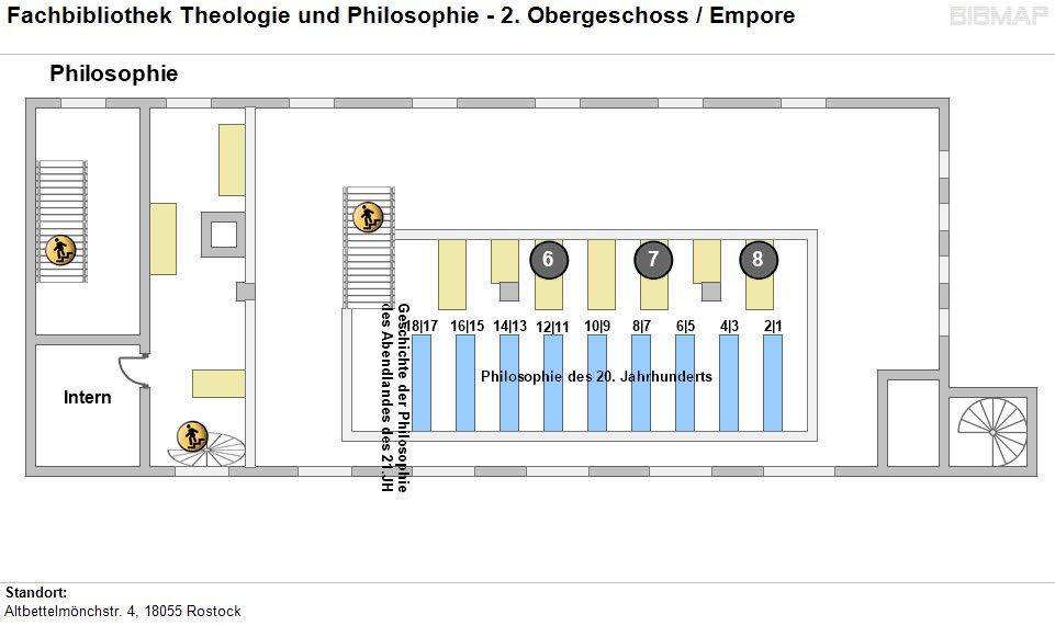 Etagenplan Fachbibliothek Theologie und Philosophie - Empore 2.OG