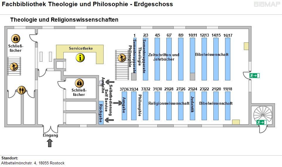 Etagenplan Fachbibliothek Theologie und Philosophie - EG