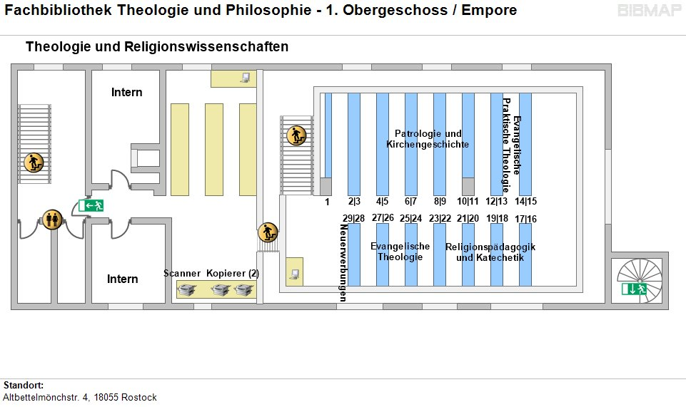 Etagenplan Fachbibliothek Theologie und Philosophie - 1. OG